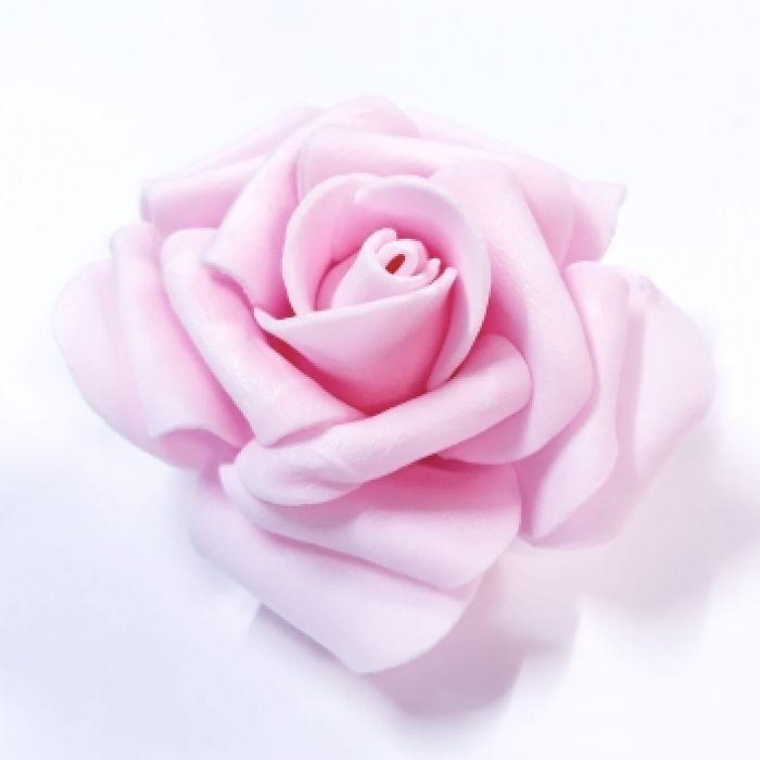 Роза из фоамирана светло-розовая 7см для скрапбукинга