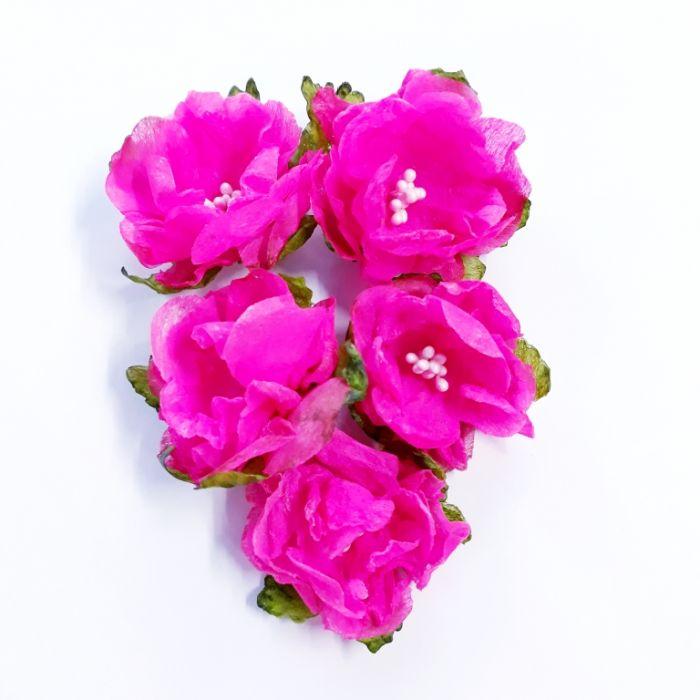 Набор цветов Дикая роза ярко-розовая для скрапбукинга