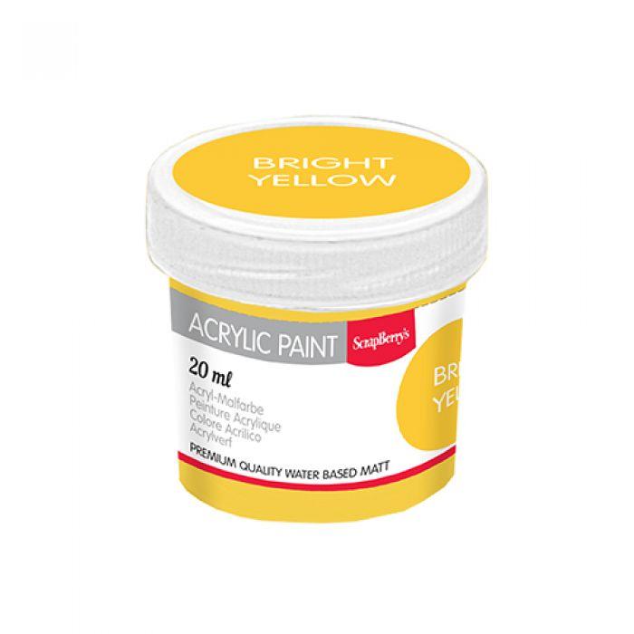 Акриловая краска яркий жёлтый 20 мл для скрапбукинга