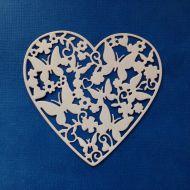 Ажурное сердце с бабочками, вырубка из белого картона