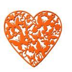Ажурное сердце с бабочками, вырубка из оранжевого картона