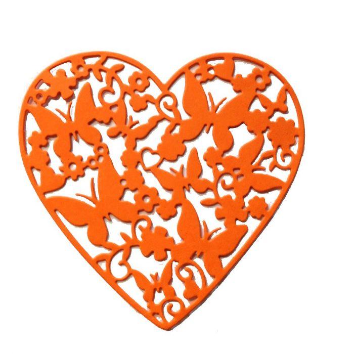 Ажурное сердце с бабочками, вырубка из оранжевого картона для скрапбукинга