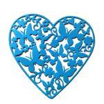 Ажурное сердце с бабочками, вырубка из ярко-голубого картона