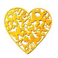 Ажурное сердце с бабочками, вырубка из жёлтого картона
