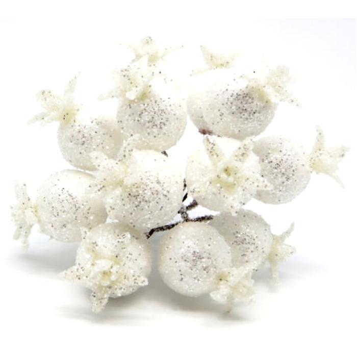 Букетик из белых блестящих ягод для скрапбукинга