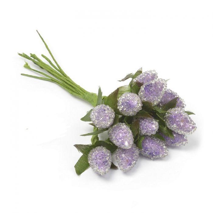 Букетик малина фиолетовая 20 мм для скрапбукинга