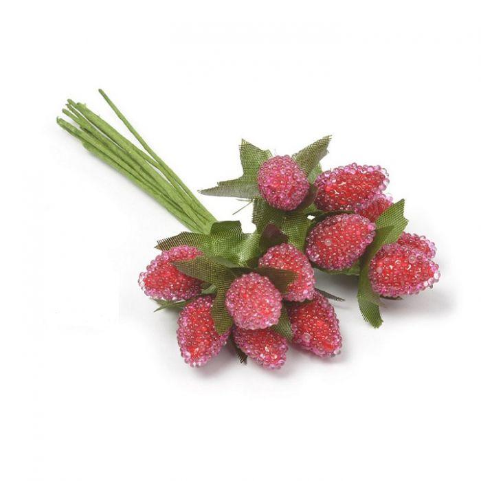 Букетик малина красная 20 мм для скрапбукинга