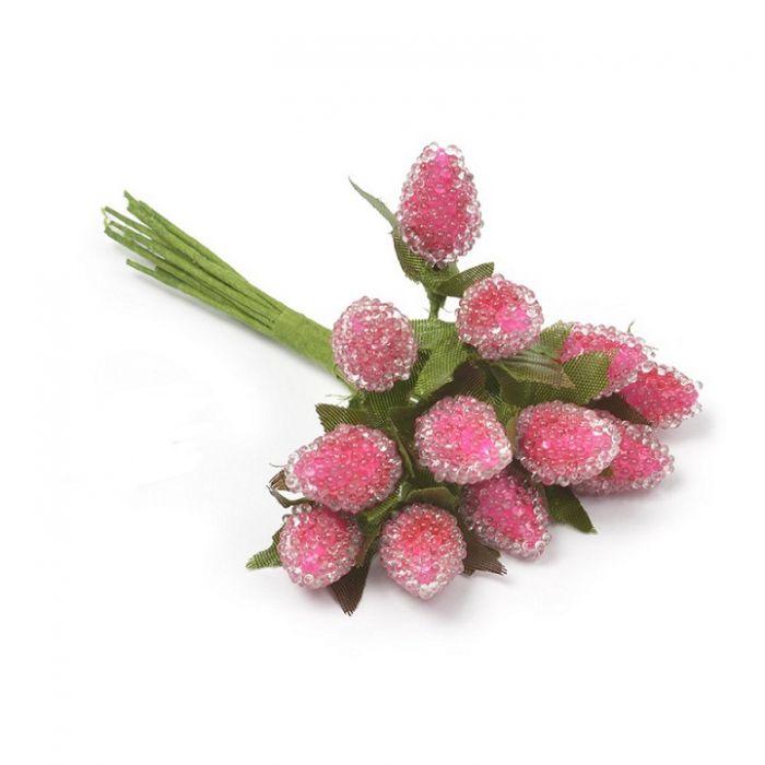 Букетик малина розовая 20 мм для скрапбукинга