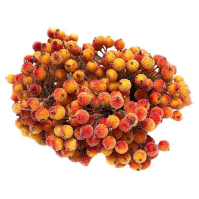 Букетик ягод желто-красных в сахаре для скрапбукинга