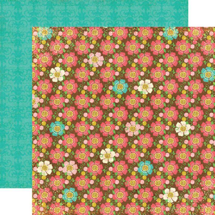 Бумага Brown Floral, коллекция Life is Good для скрапбукинга