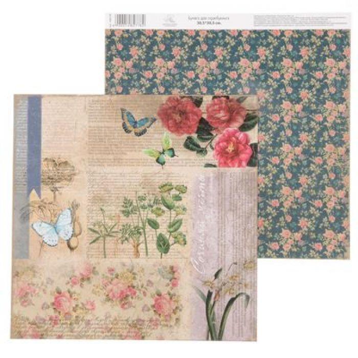 Бумага цветочные мотивы, коллекция La Botanique для скрапбукинга