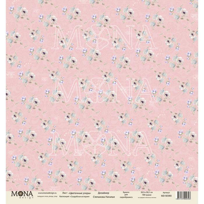 Бумага цветочные узоры, коллекция свадебная история для скрапбукинга