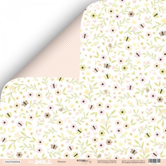 Бумага Flowers, коллекция Doll Baby для скрапбукинга