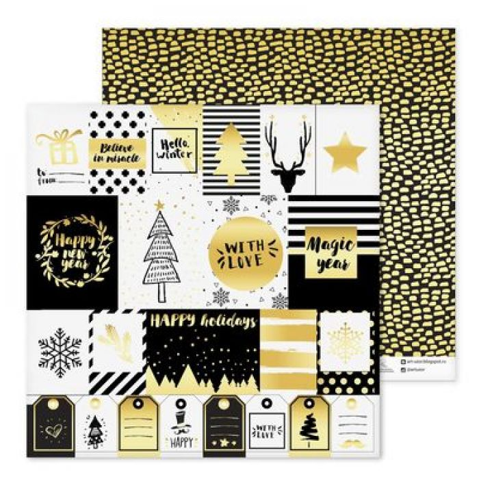 Бумага Gold, коллекция Magic Year для скрапбукинга