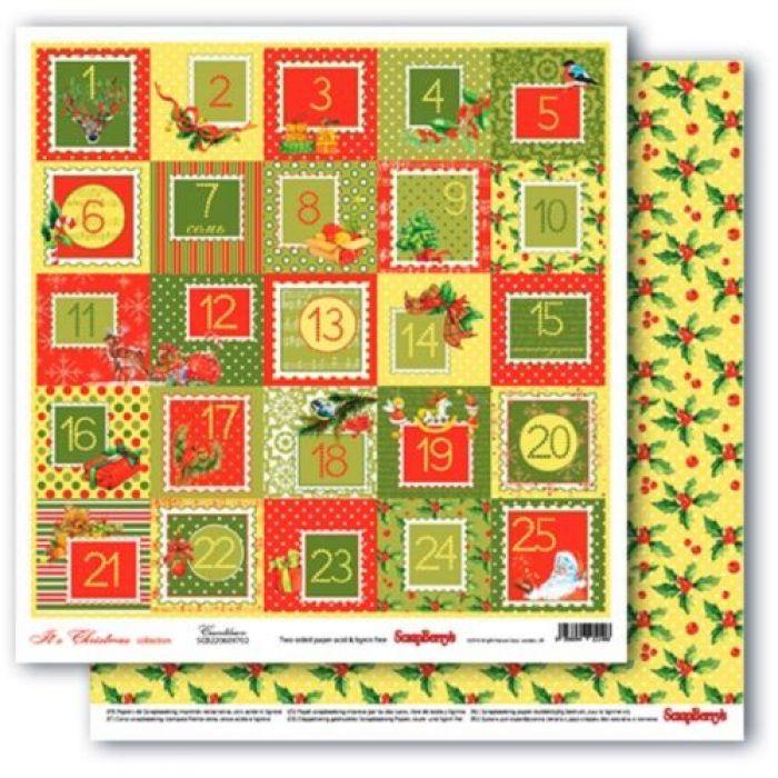 Бумага календарь, коллекция рождественская омела для скрапбукинга