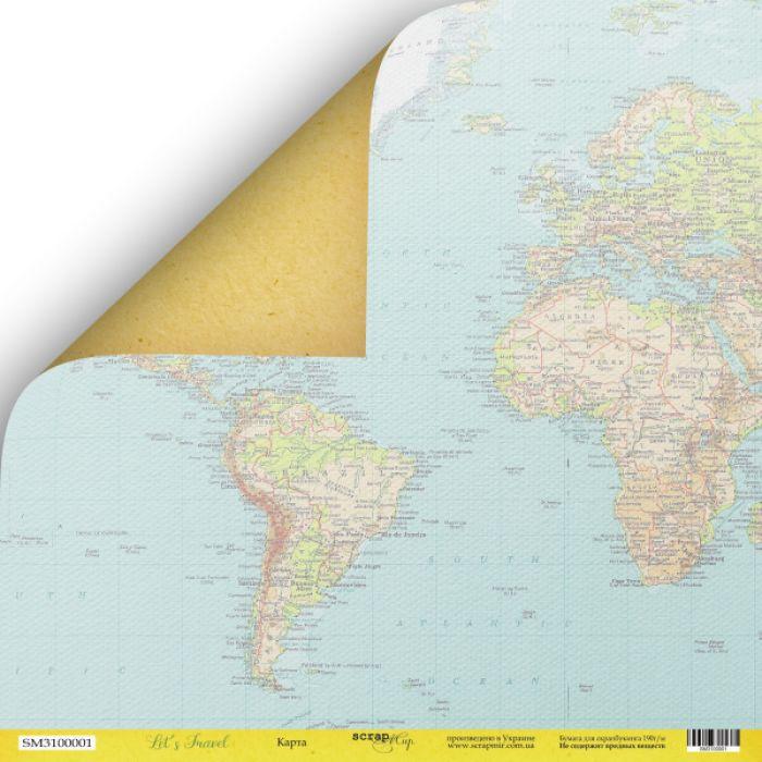Бумага карта , коллекция Let's Travel для скрапбукинга