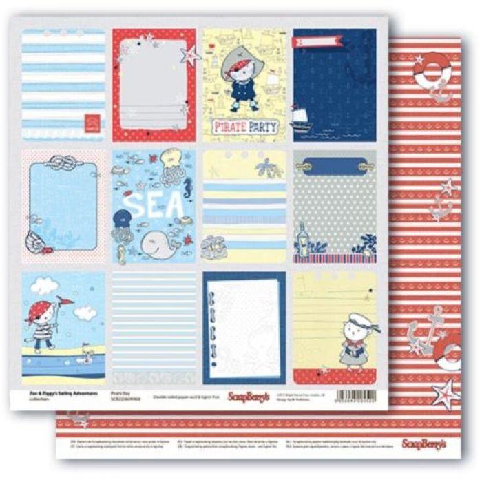 Бумага карточки 2, коллекция морские приключения для скрапбукинга