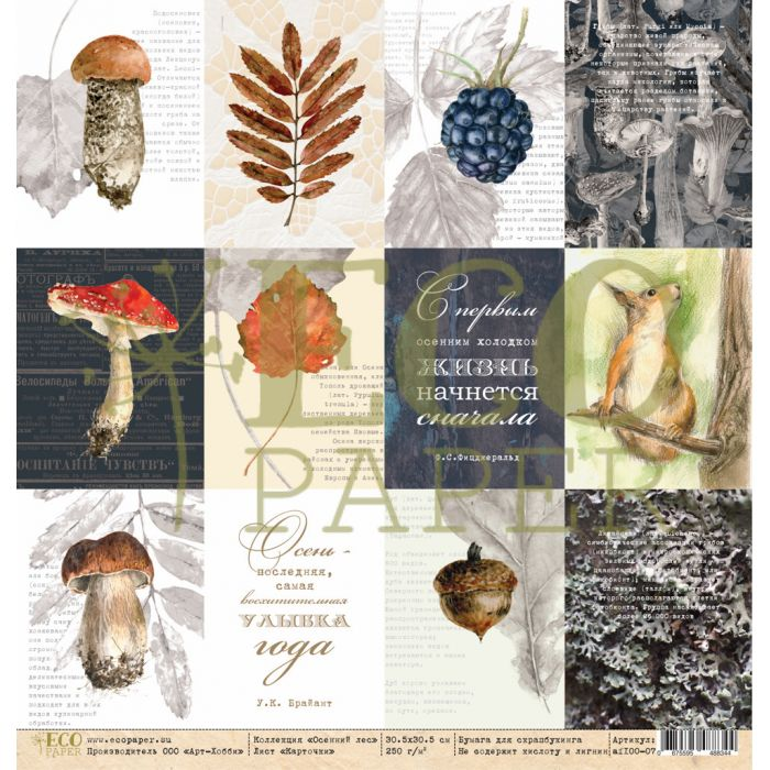 Бумага карточки, коллекция осенний лес для скрапбукинга
