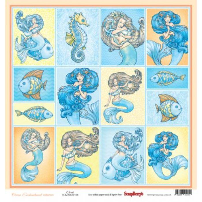 Бумага карточки, коллекция сказки моря для скрапбукинга