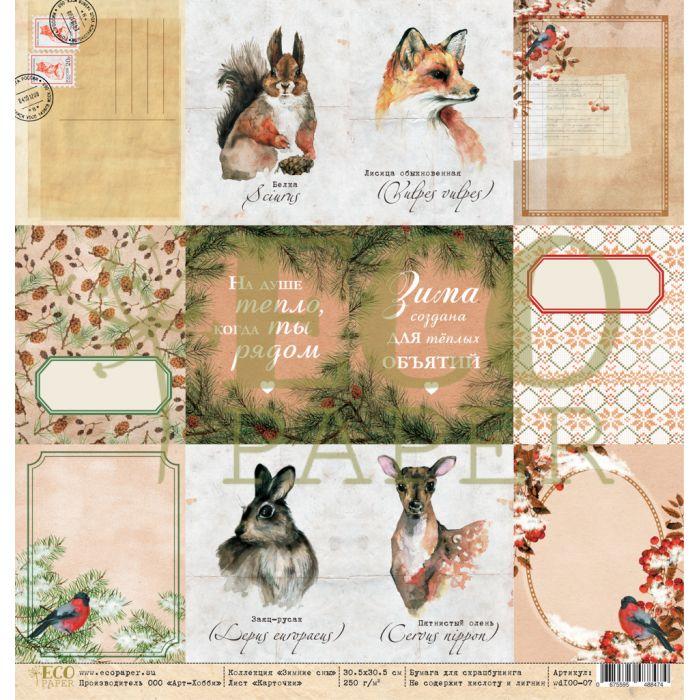 Бумага карточки, коллекция зимние сны для скрапбукинга