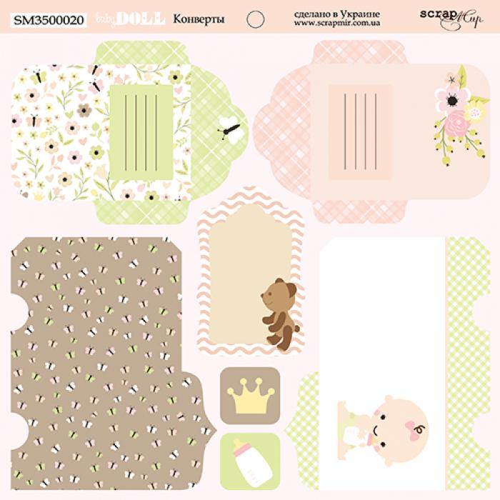 Бумага конверты, коллекция Doll Baby для скрапбукинга