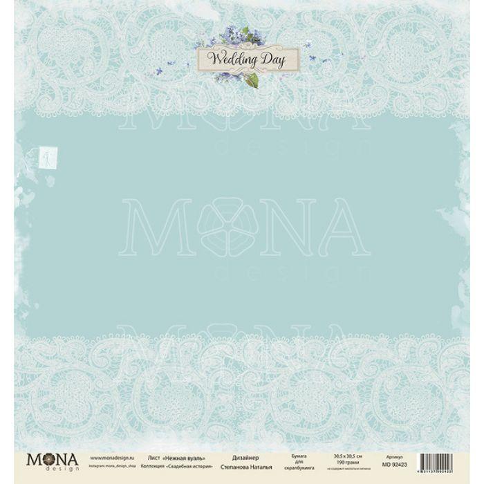 Бумага нежная вуаль, коллекция свадебная история для скрапбукинга