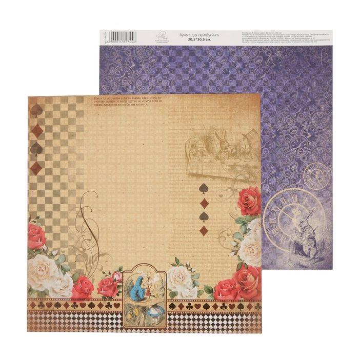 Бумага орнамент, коллекция в стране чудес для скрапбукинга