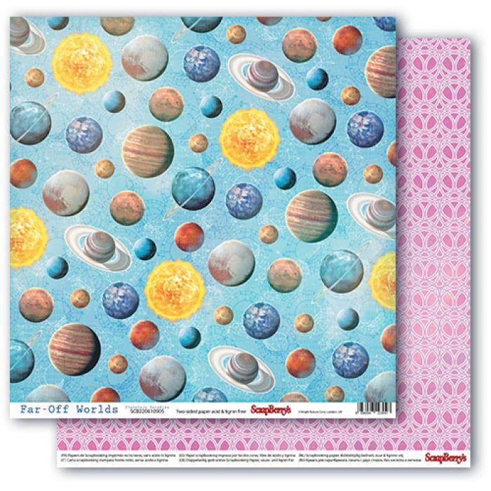 Бумага планетарный рай, коллекция космос для скрапбукинга