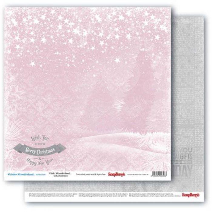 Бумага розовая дымка, коллекция зимняя сказка для скрапбукинга