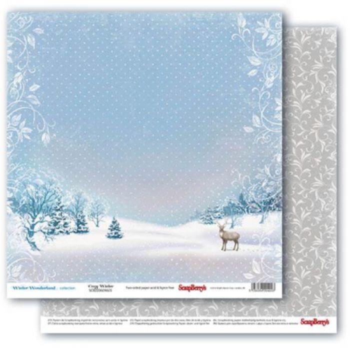 Бумага северный олень, коллекция зимняя сказка для скрапбукинга