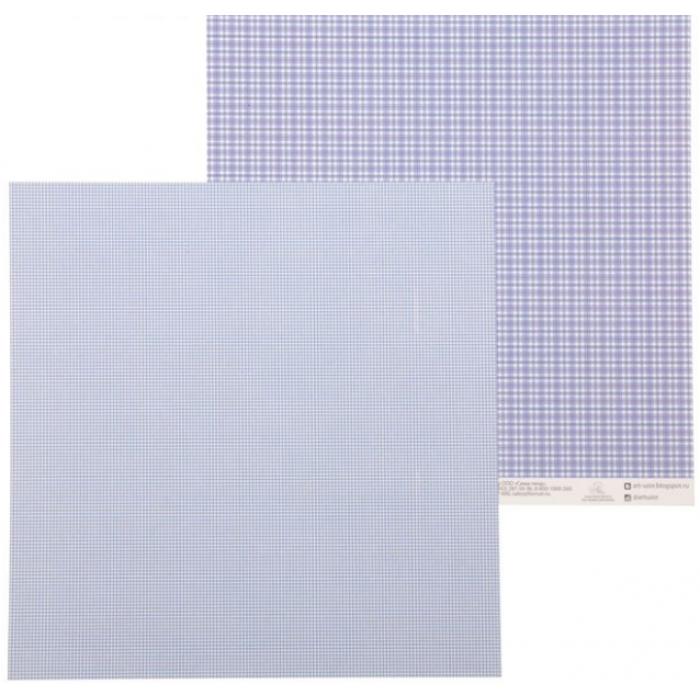 Бумага синяя клеточка для скрапбукинга