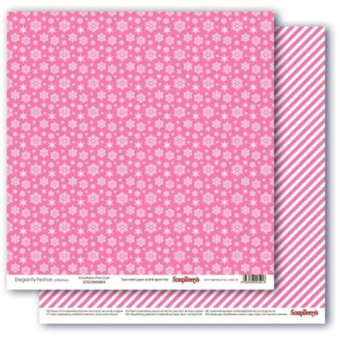 Бумага снежное утро.розовое наваждение, коллекция зимние контрасты для скрапбукинга