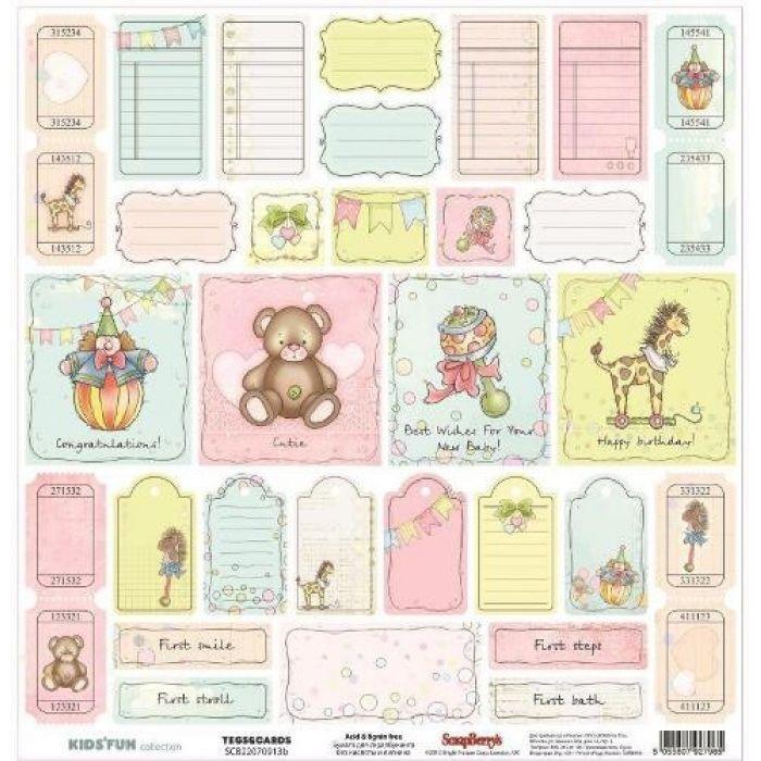 Бумага теги и карточки, коллекция забава англ. для скрапбукинга
