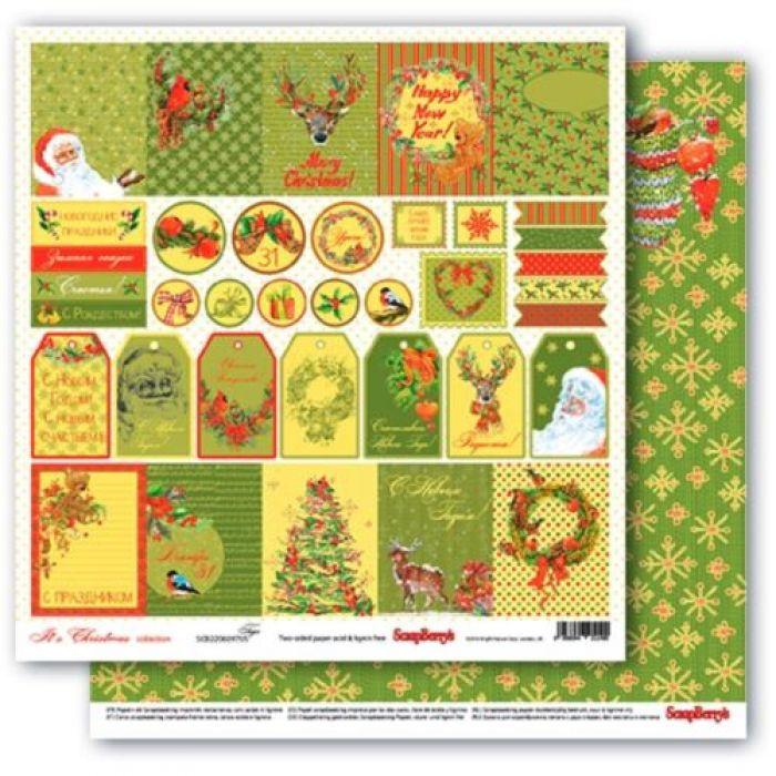 Бумага тэги, коллекция рождественская омела для скрапбукинга