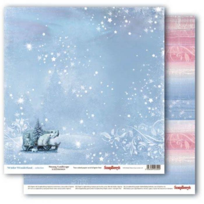 Бумага заснеженный пейзаж, коллекция зимняя сказка для скрапбукинга