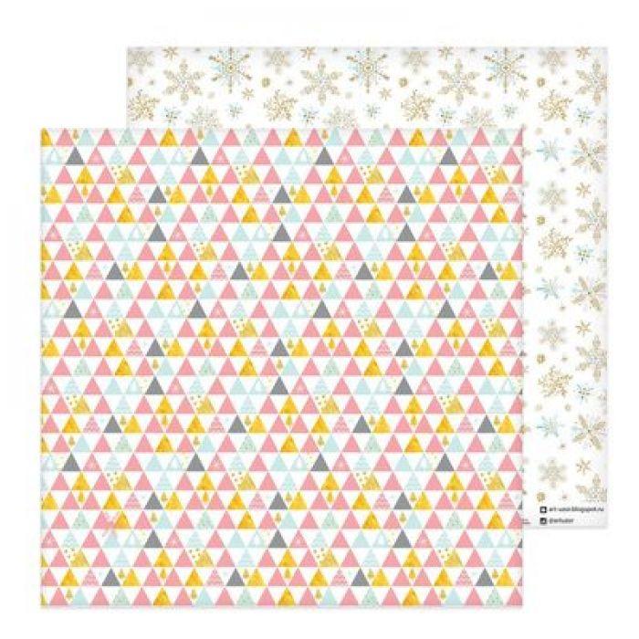Бумага золотые снежинки, коллекция Magic Year для скрапбукинга