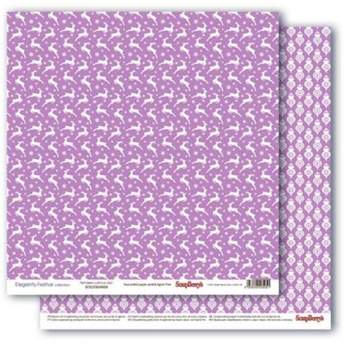 Бумага звездная ночь.лиловый иней, коллекция зимние контрасты для скрапбукинга