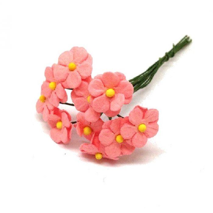 Цветочки маленькие розово-персиковые 12 мм для скрапбукинга