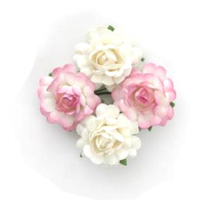 Цветы чайной розы бело-розовые для скрапбукинга