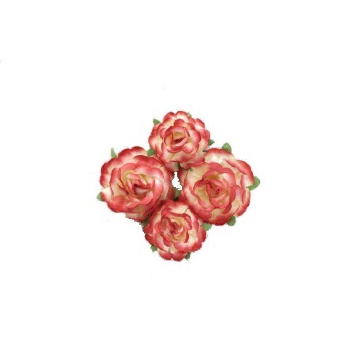Цветы чайной розы красно-желтые для скрапбукинга