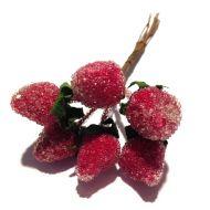Декоративный букетик клубника красная в сахаре