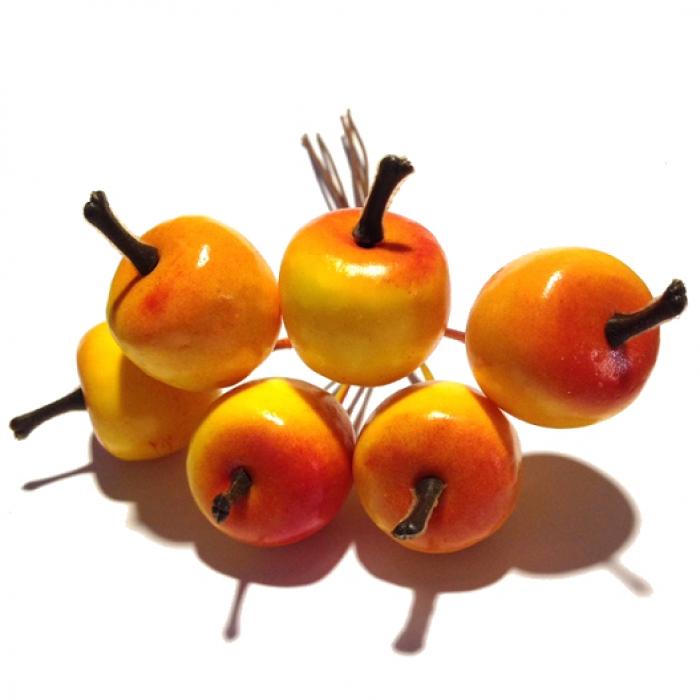 Декоративный букетик яблоки красно-желтые для скрапбукинга