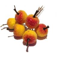 Декоративный букетик яблоки красно-желтые в сахаре