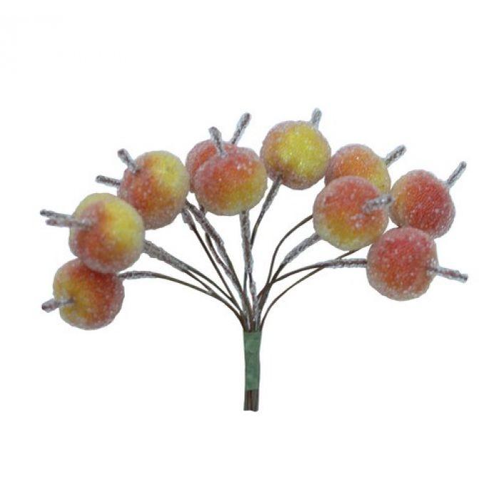 Декоративный букетик яблоки в обсыпке для скрапбукинга