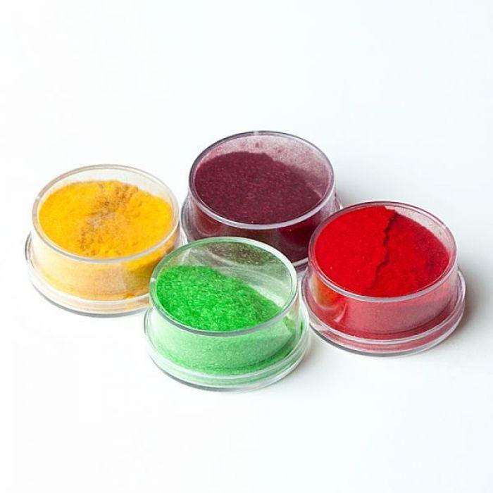 Флоковая пудра бордовый, красный, светло-оранжевый, зеленый  для скрапбукинга