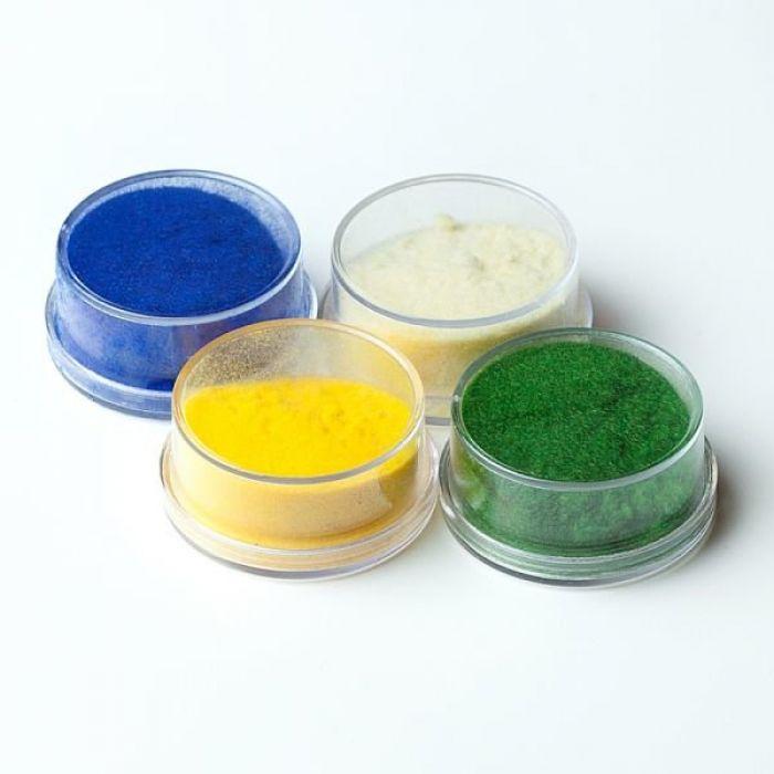 Флоковая пудра синий, кремовый, желтый, зеленый для скрапбукинга
