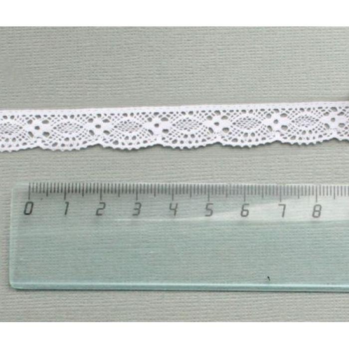 Кружево хлопчатобумажное белое 15 мм для скрапбукинга