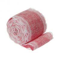 Лента холщовая с кружевом розовая 60 мм