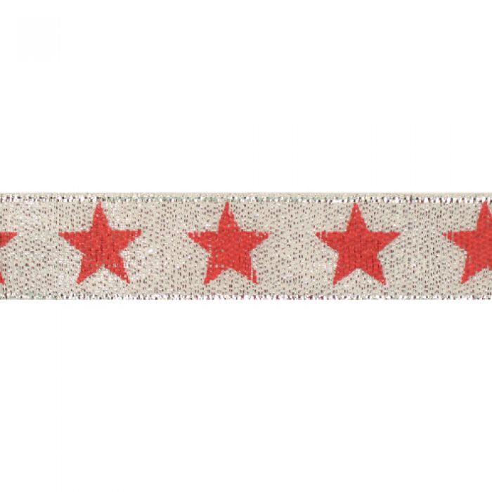 Лента металлизированная серебряная со звёздами 15 мм для скрапбукинга