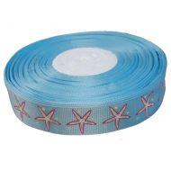 Лента репсовая голубая морская звезда 25 мм